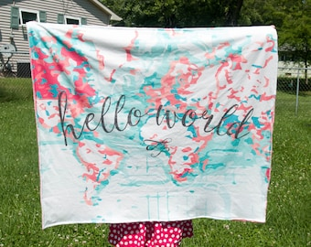 Hello world baby blanket nautical map blanket minky hello hello world baby blanket nautical map blanket minky hello world blanket crib blanket baby cloud blanket newborn blanket hello world gumiabroncs Images