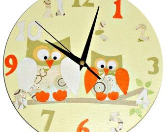 Owl Clock / Personalized / Children's wall Clock / Nursery Clock - Blue, Pink, Yellow