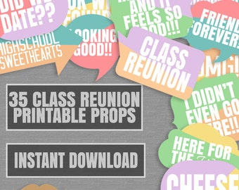 Colorful Class Reunion Photobooth props, tropical retro color class reunion photobooth props, reunion party photo props, instant download