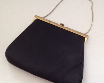 Vintage Ingber Evening Bag with Handle Black Silk Faille Purse 1950s 1940s