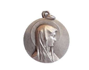 Our Lady of Lourdes - Virgin Mary Portrait- Antique French Medal Pendant Charm - Religious Jewelry