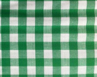 Cotton green gingham, Plaid, by 10 cm