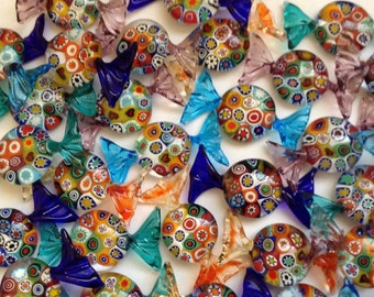 Candy handmade authentic Murano glass with murrine  in various colors and shades