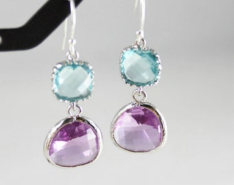 Blue Earrings, Lavender Earrings, Purple Earrings, Aquamarine, Amethyst, Light Blue Bridesmaid Earrings, Bridesmaid Gift, Bridal Earrings