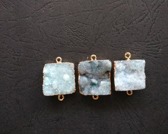 10pcs Blue Druzy Agate Connector Rectangle 18x20mm- Gold plated- SIMILAR AS Pictured