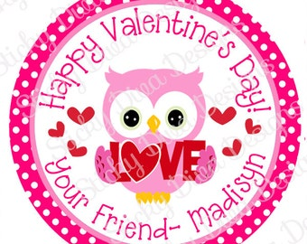 PERSONALIZED VALENTINE STICKERS - Sweet Owl  - Round Gloss Sticker Labels