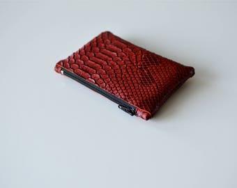 Porte-monnaie en simili cuir rouge croco