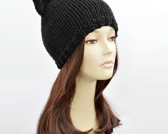 Spring / Autumn Cat Hat, Black Cat Hat, Knit Cat Ear Hat or Cat Beanie, Womens Cat Hat, Cat Ears Hat