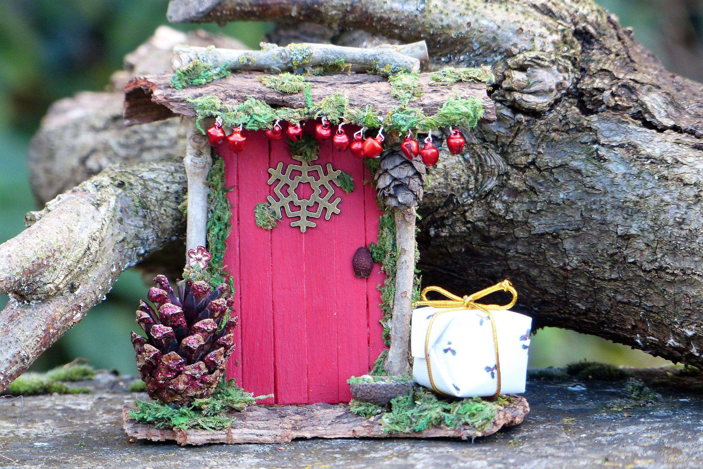Red Elf Fairy Door Miniature Door Pixie Mini Red Gift