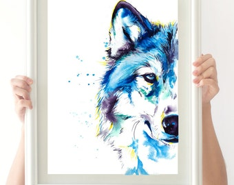 Blue Wolf -Colorful print of original watercolor painting - colorful decor!