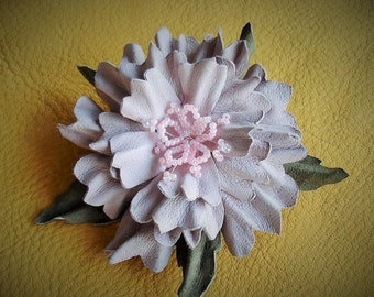 Leather Flower Handmade Light Pink Hair Clip