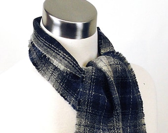 Blue Black Plaid Scarf  -  Black Blue Plaid Wool Scarf  - Long Plaid Scarf - Long Plaid Wool Scarf  - Long Wool Scarf - Men's Plaid Scarf