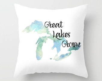 Throw Pillow Cover Great Lakes Grown Home Decor Case Bedroom Livingroom Couch Michigan State Love Blue Watercolor Heart Home