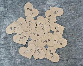 Kraft Heart Confetti, Paper Confetti, Rustic Wedding Decor, Baby Shower Decor, Personalized Name Confetti, 100 Pieces