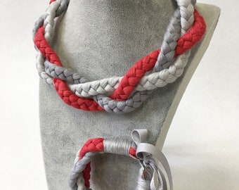 Braided linen necklace and bracelet - grey and red