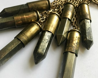 Eneegy charged pyrite bullet necklace