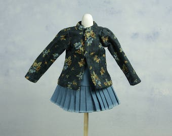 Dress set for tiny BJD, slim YoSD, Pip, Runa and other small dolls, cotton with flower print, vintage style, blue and yellow