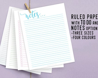 Ruled Paper, Printable Organizer, Instant Download, Productivity Planner, DIY Planner, To Do List, Notes, Digital Schedule, Paper Printable