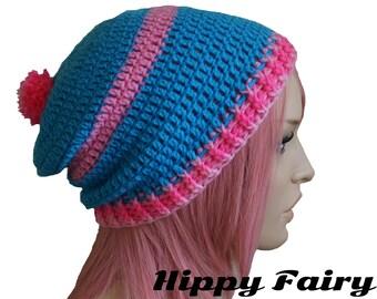 bobble hat,womans pom pom hat, pom pom beanie, crochet pom pom hat,  Womans slouch beanie,- sale