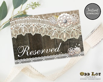 Printable Rustic Reserved Table Tent Card Wedding Reserved Sign, Rustic Lace Reserved Reception Card Instant Download Printable ~Wood Lace