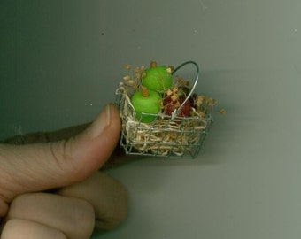 Miniature Wire Basket with Apples - Green and Red