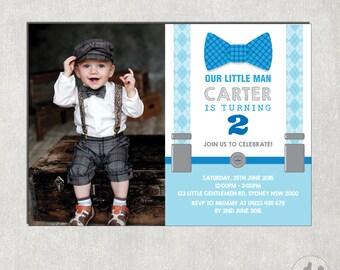 Little Man Birthday Invitation. Little Gentleman Photo Invitation. Bowtie First Birthday Invite. Suspenders. Mustache Party Invitation. L-M2