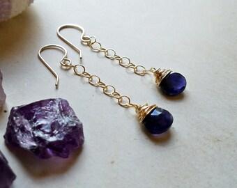 Iolite Drop Earrings, Deep Purple Drops, Blue Purple Dangle Earrings:  Ready to Ship