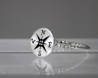 compass ring, sterling silver compass ring, nautical ring, women, friend, mother, daughter, eco friendly, statement, bridesmaid gift, gift