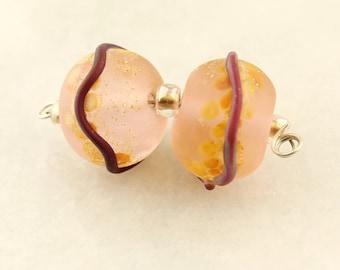 Lampwork Bead Pair, Light Pink, Purple, Peach,  Silver