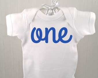 Boy's One Year Old Birthday One Piece - Blue and White Birthday Bodysuit