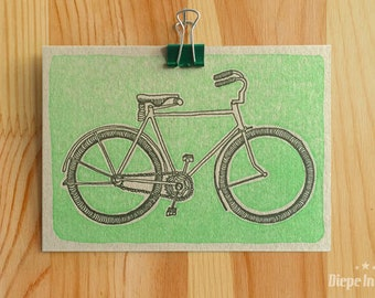 Vintage bike on common grey board - vintage fiets op grijskarton ansicht - letterpress