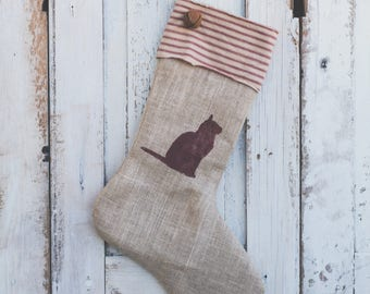 Handmade Burlap Christmas pet Stocking with red striped cuff & red cat Christmas Stocking