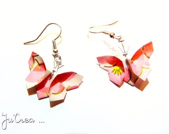 Origami butterflies earrings pink