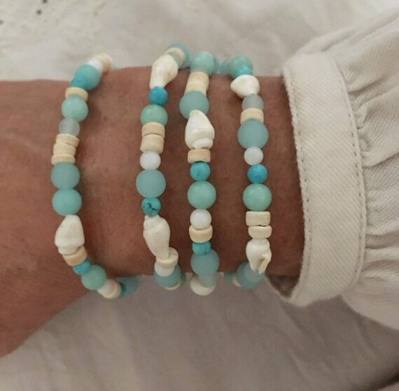 beach bracelet, beachcomber bohemian jewelry, sea inspired