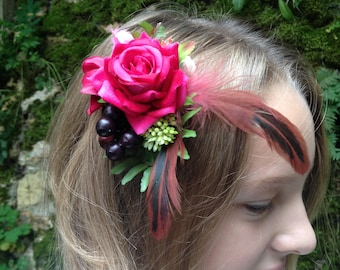 Decorative hair pink artificial and feathers, Bridal hair accessories, ceremony, party