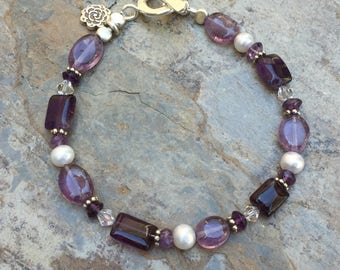 Amethyst Bracelet, Amethyst, Pearl and Crystal Bracelet, Choose your size