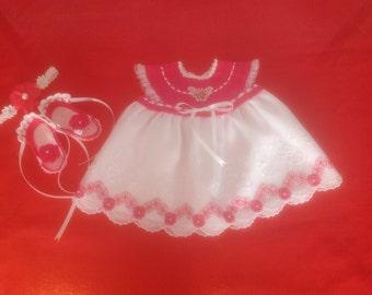 Newborn Baby Girl Dress Set - Fuchsia & White