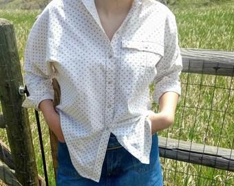 Neutral Beige Cotton Blouse Geometric Design Western Wear Bohemian Fashion Boho Style Oversized Top Liz Claiborne Size Small Medium