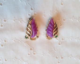 Vintage Purple Clip on earrings with green rhinestones in gold tone