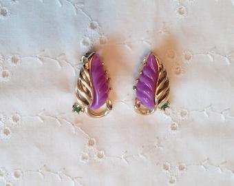 Clips d'oreilles avec strass verts en ton or violet Vintage
