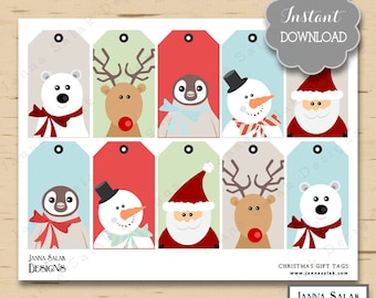 Printable Christmas Gift Tags / Hanging Favor Tags Cute Party DIY INSTANT DOWNLOAD Pdf Jpg