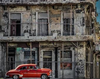"""Cuban art, Old Havana Cuba Photo, Classic Car Art, Red Vintage Car, Classic Car Photography, Cuba Art Print, Wall Art """"Urban Retro"""""""