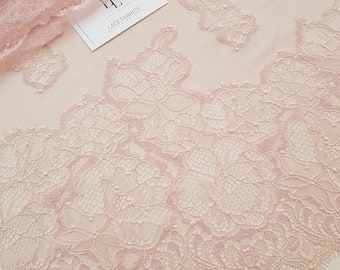 Pink lace fabric, French lace, Chantilly lace, Wedding lace, Bridal lace, Evening dress lace, Lingerie lace, fabric by the yard LL83101