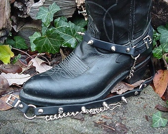 Western/Biker Boots BOOT CHAINS Black Leather W Spikes
