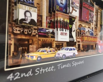 3D paper-cut sculpture framed art with LED. 42nd Street, NYC