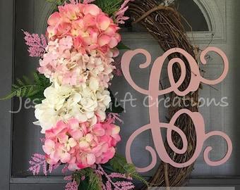 BEST SELLER Made to Order Hydrangeas Grapevine Wreath/Monogram Wreath/Front Door Wreath/Spring/Year Round/Welcome Wreath/Seasonal/Everyday