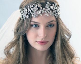 Vintage Wedding Headband, Rhinestone Bridal Headband, Couture Bridal Headband, Floral Wedding Headpiece, Headband for Bride ~TI-3278