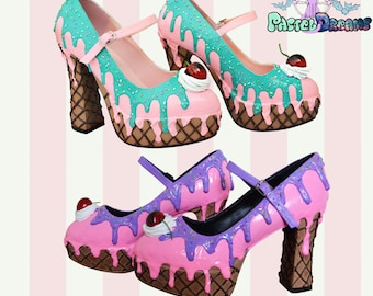 Pleaser demonia dolly50 style LARGE sizes! drippy icecream  custom made heels shoes, Pastel Goth, Fairy Kei, Kawaii,cute,lolita, alternative