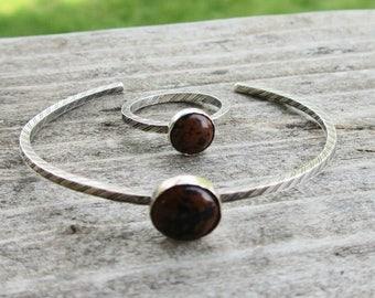 Mahogany Obsidian Bracelet Cuff and Ring Matching Set