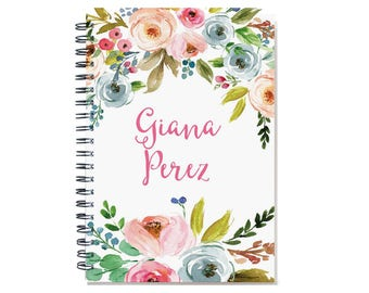 2018 Month Planner, 2018-2019 Personalized Calendar Notebook or Journal, watercolor floral design, 12 or 24 month calendar, SKU: pn owf